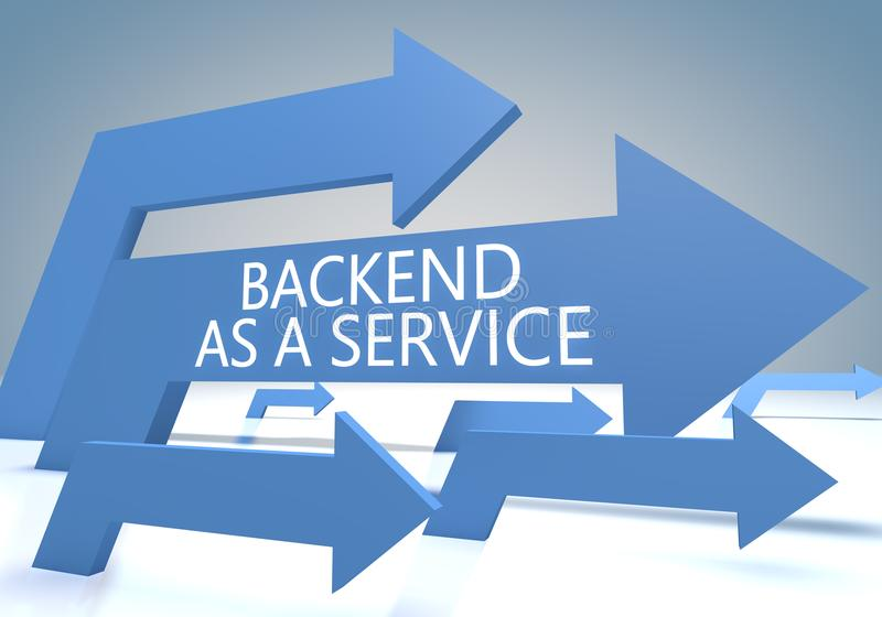 Backend as a Service. Text concept with blue arrows on a bluegrey background - 3d render illustration stock illustration