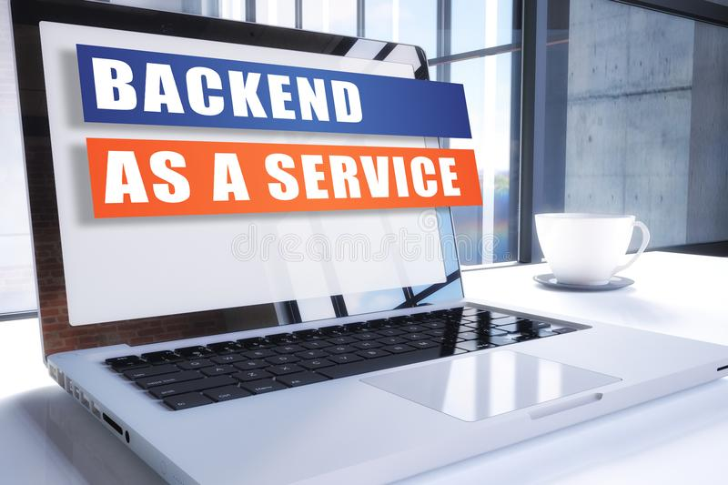Backend as a Service. Text on modern laptop screen in office environment. 3D render illustration business text concept royalty free illustration