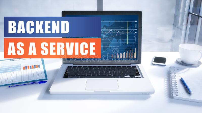 Backend as a Service. Text on modern laptop screen in office environment. 3D render illustration business text concept stock illustration