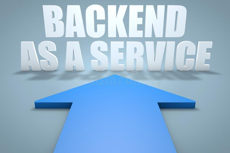 Backend as a Service. 3d render concept of blue arrow pointing to text, development, application, web, cloud, storage, social, baas, office, data, network stock illustration