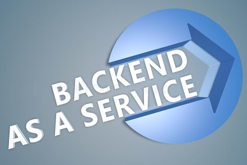 Backend as a Service. 3d text render illustration concept with a arrow in a circle on blue-grey background development application web cloud storage social royalty free illustration