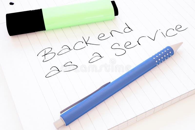 Backend as a Service. Handwritten text in a notebook on a desk - 3d render illustration development application web cloud storage social baas office data vector illustration