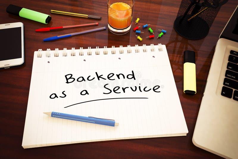 Backend as a Service. Handwritten text in a notebook on a desk - 3d render illustration, development, application, web, cloud, storage, social, baas, office vector illustration