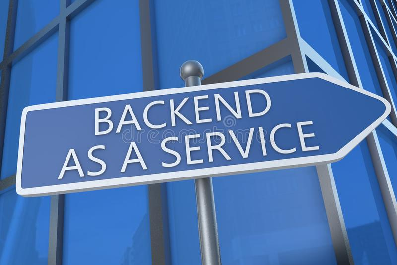 Backend as a Service. Illustration with street sign in front of office building royalty free illustration