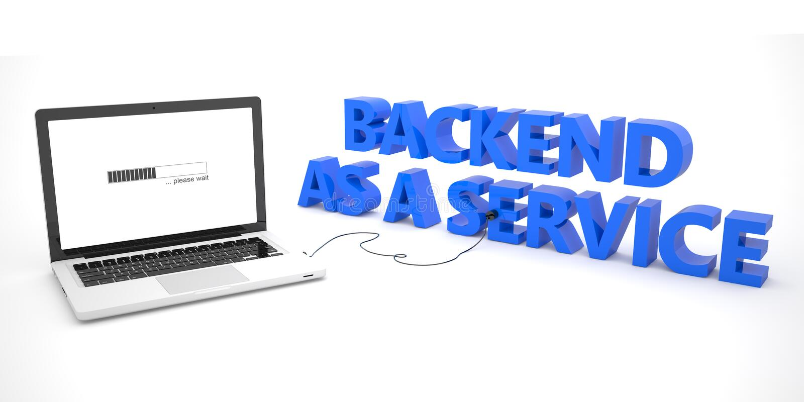 Backend as a Service. Laptop computer connected to a word on white background. 3d render illustration vector illustration