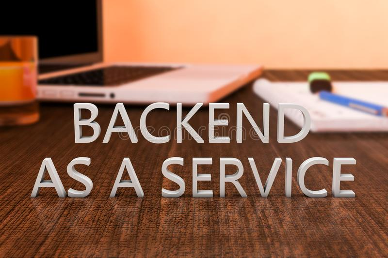 Backend as a Service. Letters on wooden desk with laptop computer and a notebook. 3d render illustration vector illustration