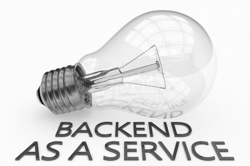 Backend as a Service. Lightbulb on white background with text under it. 3d render illustration, development, application, web, cloud, storage, social, baas royalty free illustration