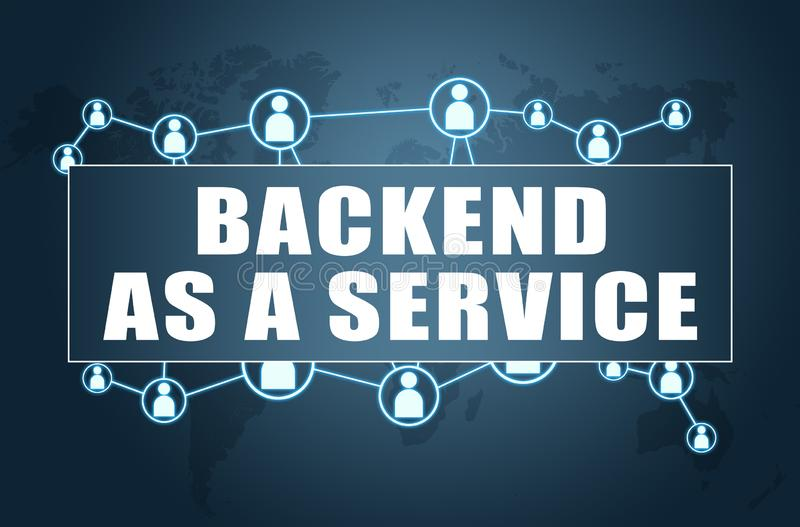 Backend as a Service. Text concept on blue background with world map and social icons, development, application, web, cloud, storage, baas, office, data vector illustration