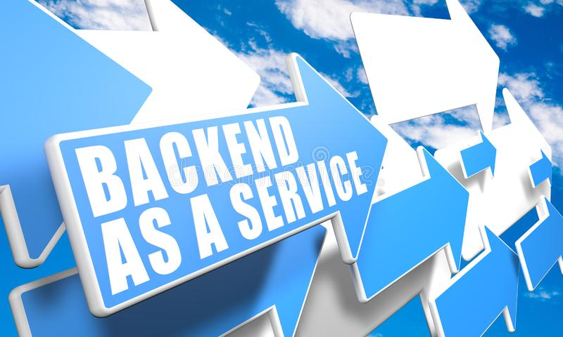 Backend as a Service. Text concept with blue and white arrows flying in a blue sky with clouds - 3d render illustration, development, application, web vector illustration
