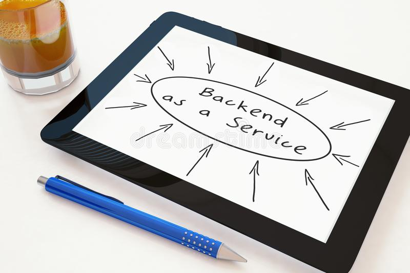 Backend as a Service. Text concept on a mobile tablet computer on a desk - 3d render illustration. development application web cloud storage social baas royalty free illustration