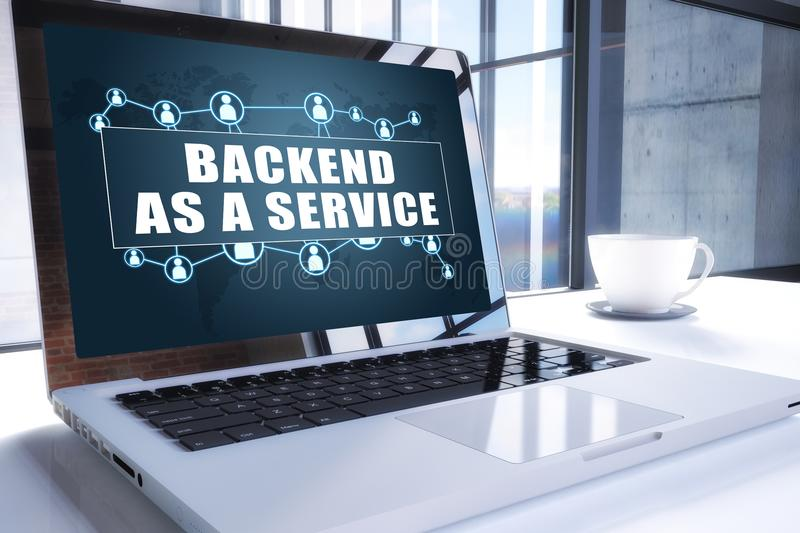 Backend as a Service. Text on modern laptop screen in office environment. 3D render illustration business text concept. development application web cloud vector illustration