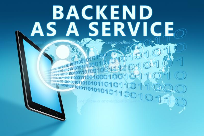 Backend as a Service. Text with social icons and tablet computer on blue digital world map background. 3D Render Illustration, development, application, web vector illustration