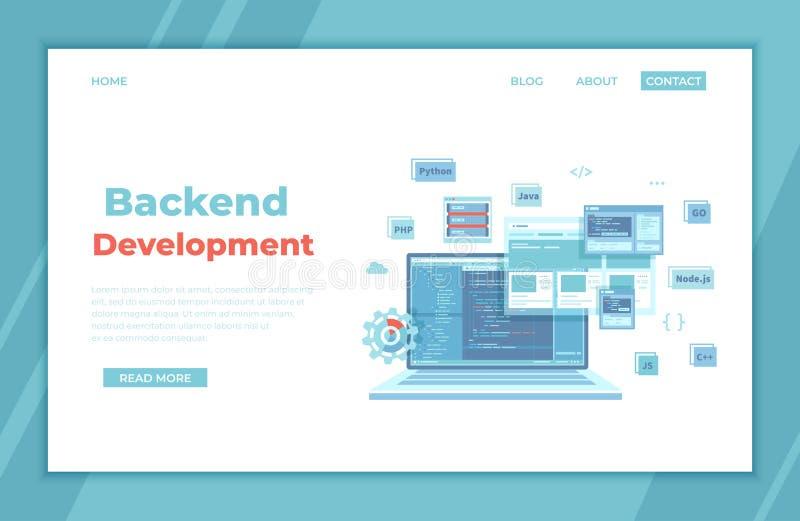 Backend Development, Coding, Software  Engineering, Programming languages. Program code on laptop screen, website template. landin stock illustration
