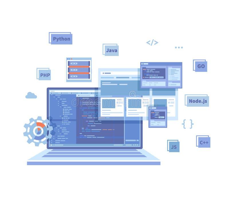 Backend Development, Coding, Software  Engineering, Programming languages. Program code on laptop screen, website template. Techno. Logy concept. Vector vector illustration
