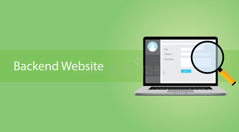 Backend website concept with laptop and magnifying glass. Vector vector illustration