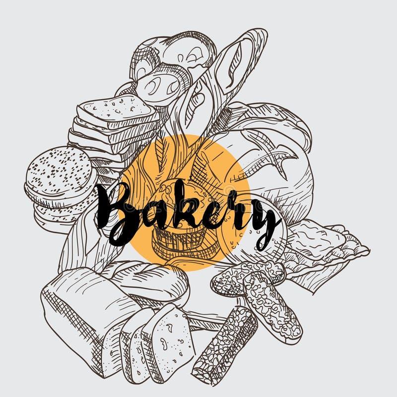 Backery fijó con diversos tipos de pan y de letras fotos de archivo libres de regalías