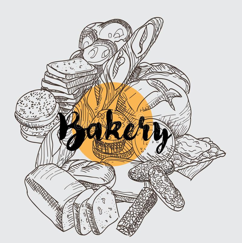 Backery set with different types of bread and lettering royalty free illustration