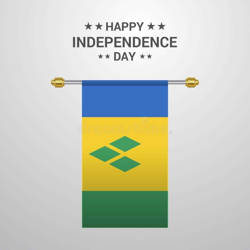 Backg accrochant de drapeau de Jour de la Déclaration d'Indépendance de Saint Vincent et de grenadines illustration stock