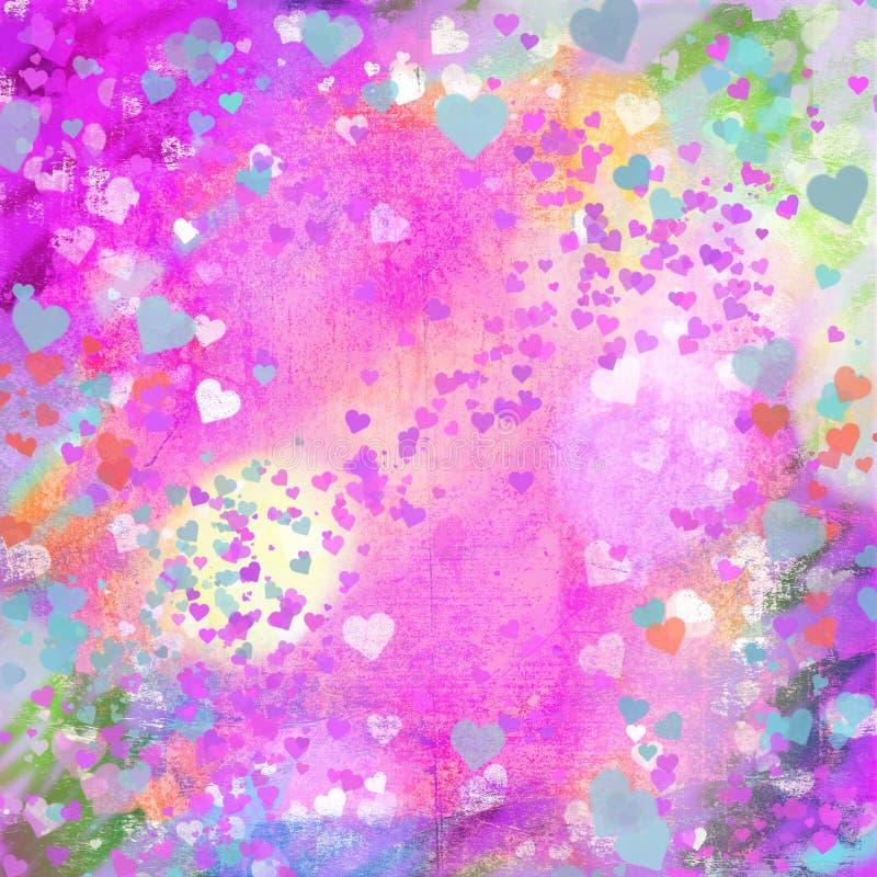 Backg astratto dei cuori pastelli di lerciume di giorno di biglietti di S. Valentino illustrazione di stock