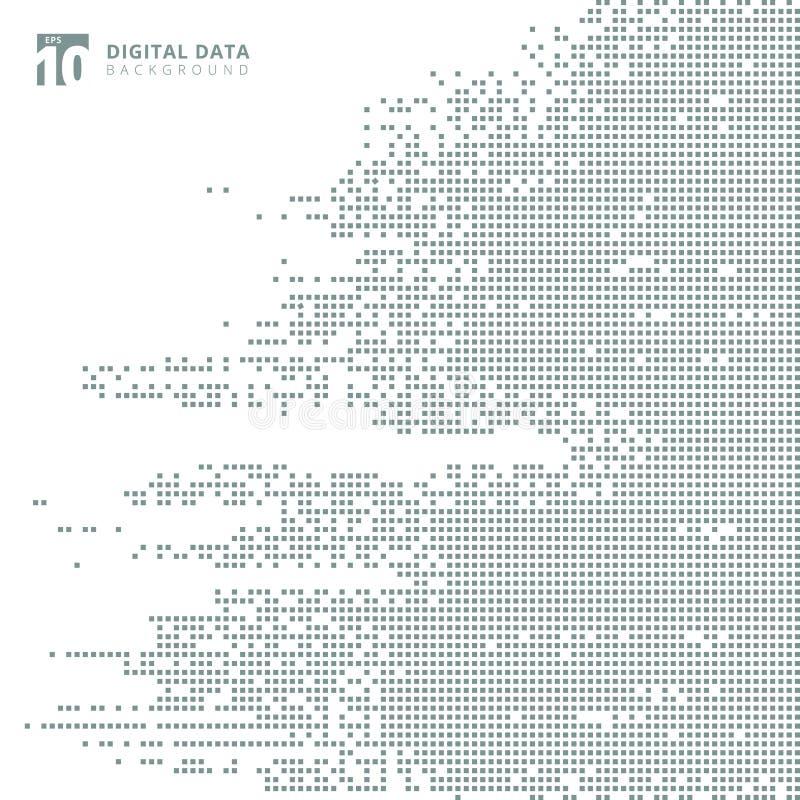 Backg cinzento do pixel do teste padrão do quadrado abstrato dos dados digitais da tecnologia ilustração do vetor