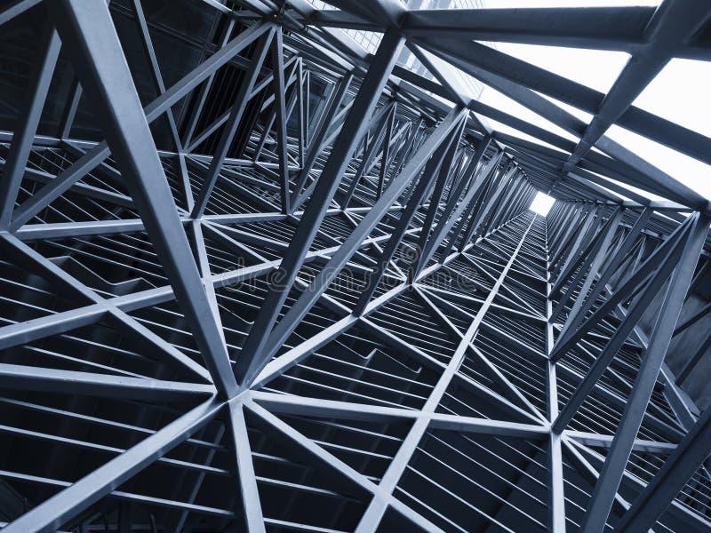 Backg de acero del detalle de la arquitectura del modelo del marco metálico de la construcción imagen de archivo libre de regalías