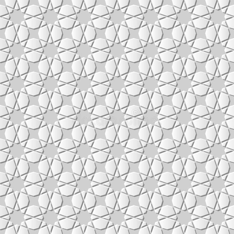 backg inconsútil de la geometría del arte del Libro Blanco 3D del modelo islámico de la cruz stock de ilustración
