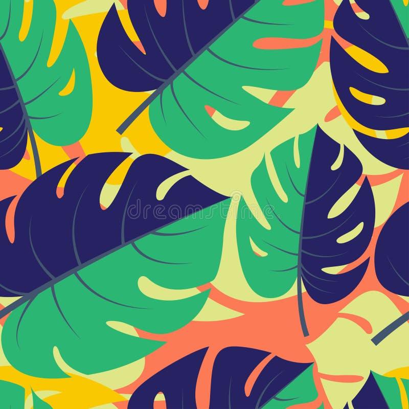 Backg sans couture graphique floral de belle jungle tropicale sans couture illustration stock