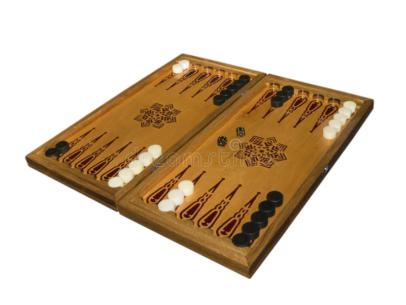 Backgammon board - side view at an angle. Handmade wooden backgammon board - side view at an angle. White background stock images