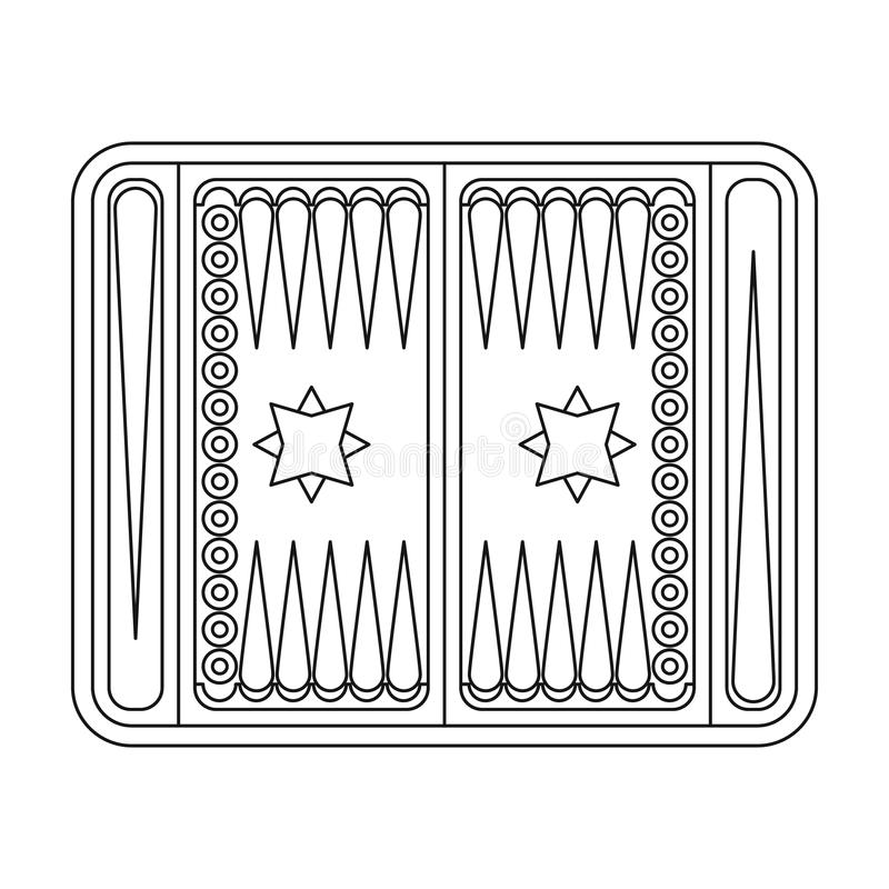 Backgammon icon in outline style isolated on white background. Board games symbol stock vector illustration. Backgammon icon in outline style isolated on white royalty free illustration