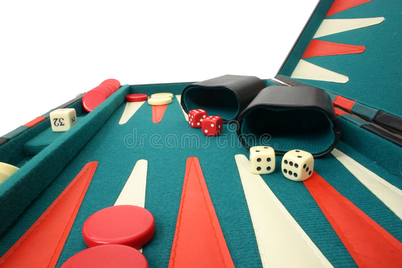 Backgammon Over White royalty free stock image