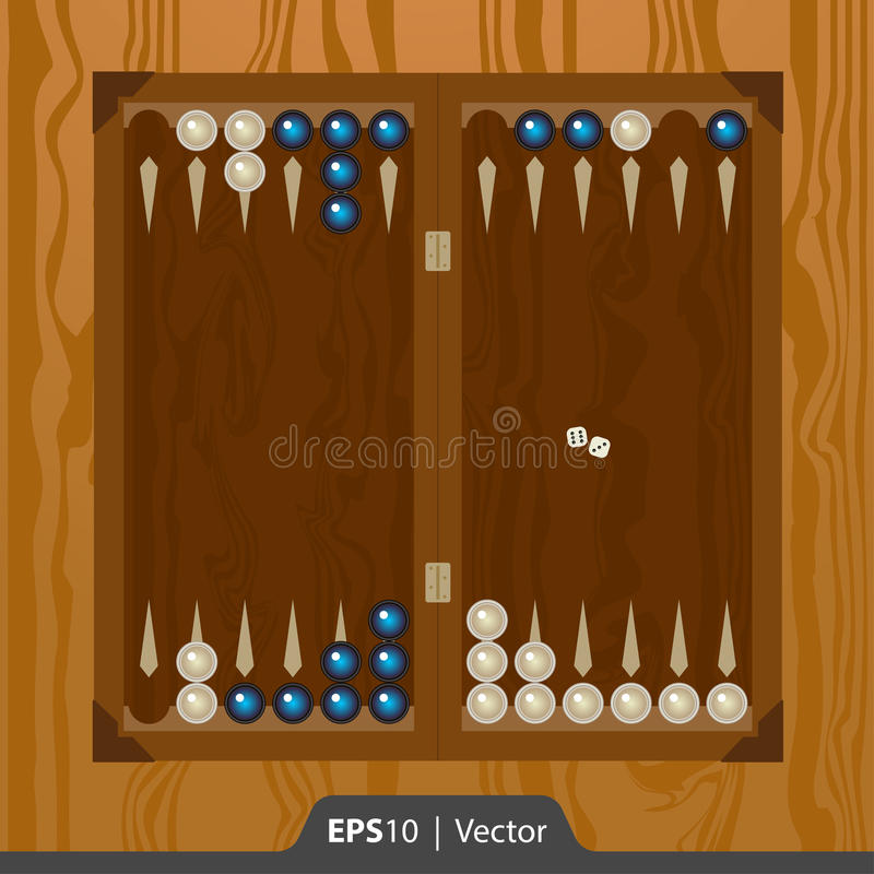 Backgammon voor de interfaceontwerp van de spelontwikkeling wordt geplaatst in twee kleuren die royalty-vrije stock afbeeldingen