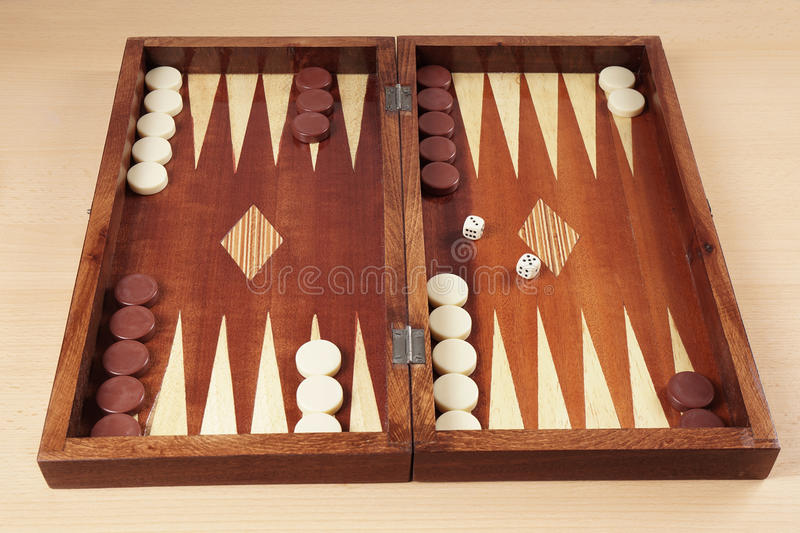 Backgammon. Wooden tavli board game from greece stock photos