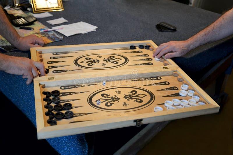 Backgammonspel royalty-vrije stock foto's