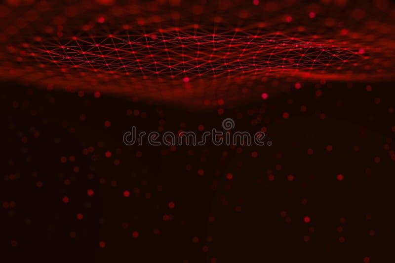 Backgaround de la ciencia de la tecnología de la información de los gráficos de ordenador del plexo Líneas y puntos conectados fotos de archivo libres de regalías