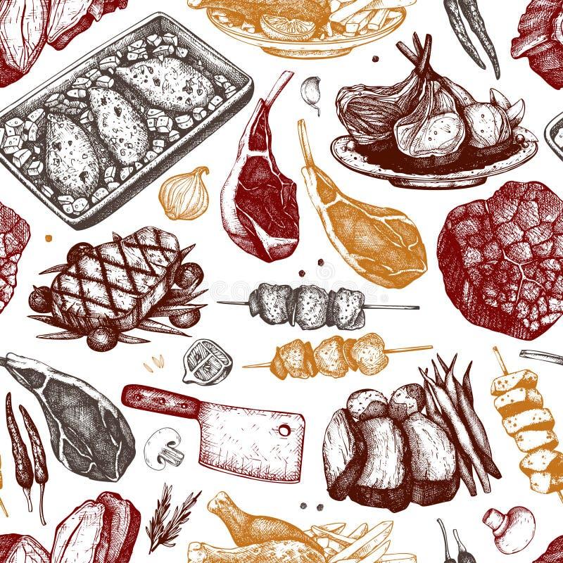 Backgorund do vetor com ilustrações tiradas mão do alimento Projeto do menu do restaurante Coleção dos produtos de carne Teste pa ilustração royalty free
