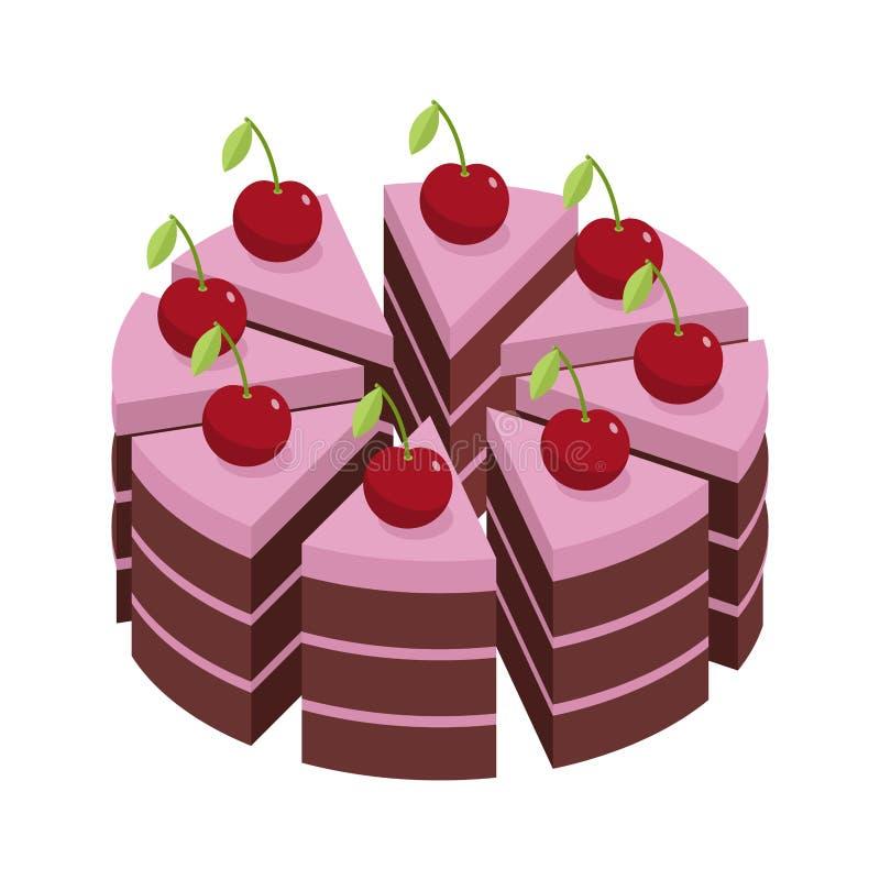 backgound蛋糕樱桃查出的范例文本白色 假日蛋糕片断  向量例证