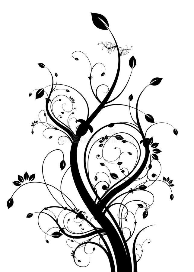 backgound黑色花卉白色 皇族释放例证