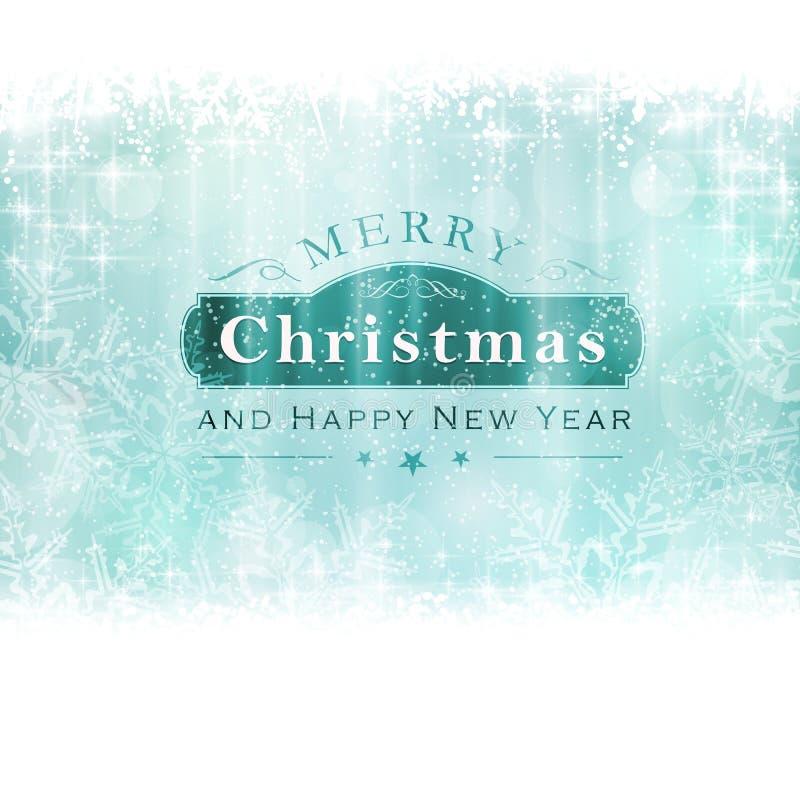 Backgound de Joyeux Noël avec le label et les flocons de neige illustration de vecteur