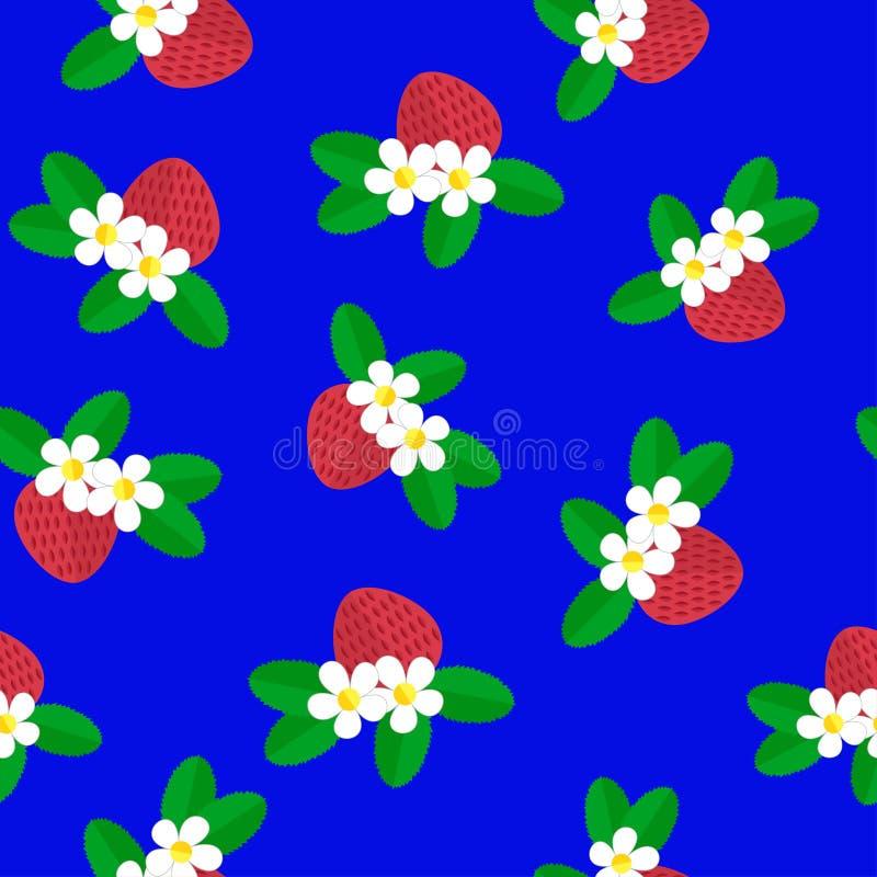 Backgound sans couture Le modèle avec les fraises rouges de baie, les fleurs blanches et le vert part sur un bleu illustration libre de droits