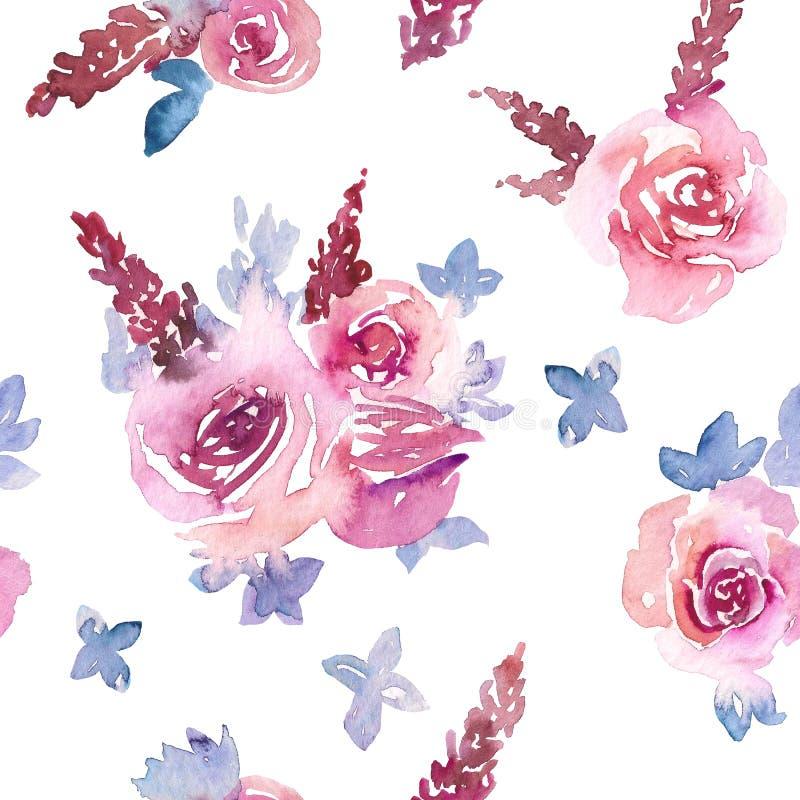 Backgound sem emenda da aquarela simples com rosas foto de stock