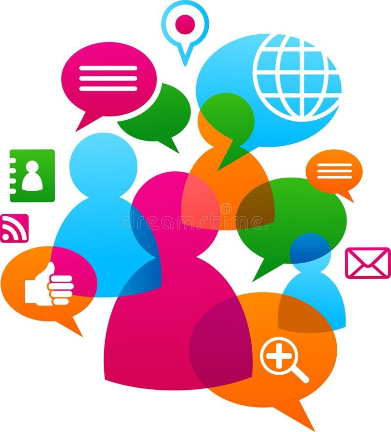 Backgound social da rede com ícones dos media