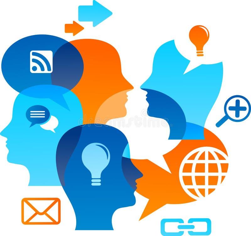 Backgound social de la red con los iconos de los media libre illustration
