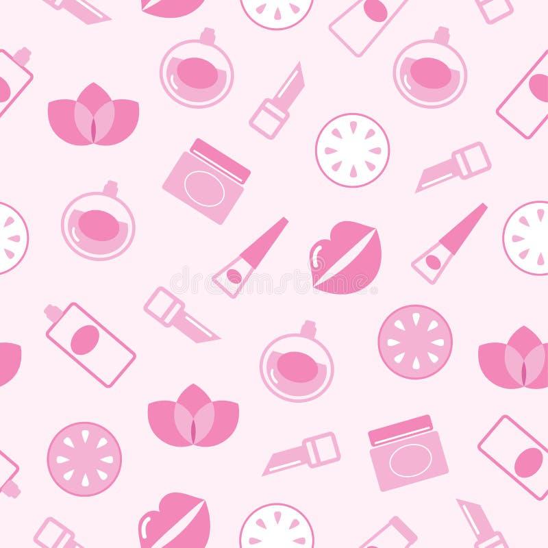backgr化妆用品模式粉红色无缝的纹理 向量例证