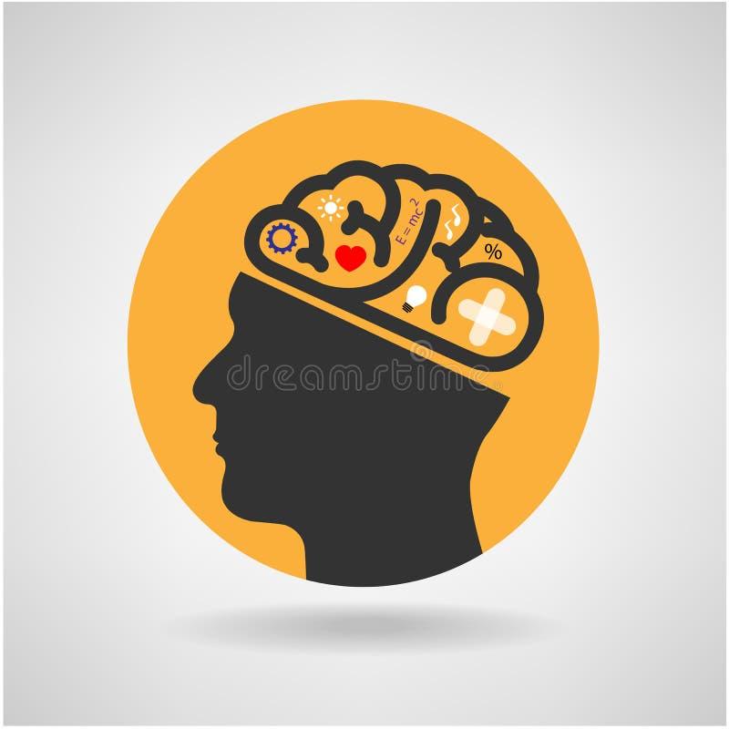 Backgr creativo del concepto de la idea del cerebro de la cabeza de la silueta ilustración del vector