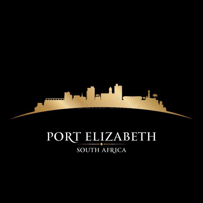 Backgr do preto da silhueta da skyline da cidade de Elizabeth South Africa do porto ilustração do vetor