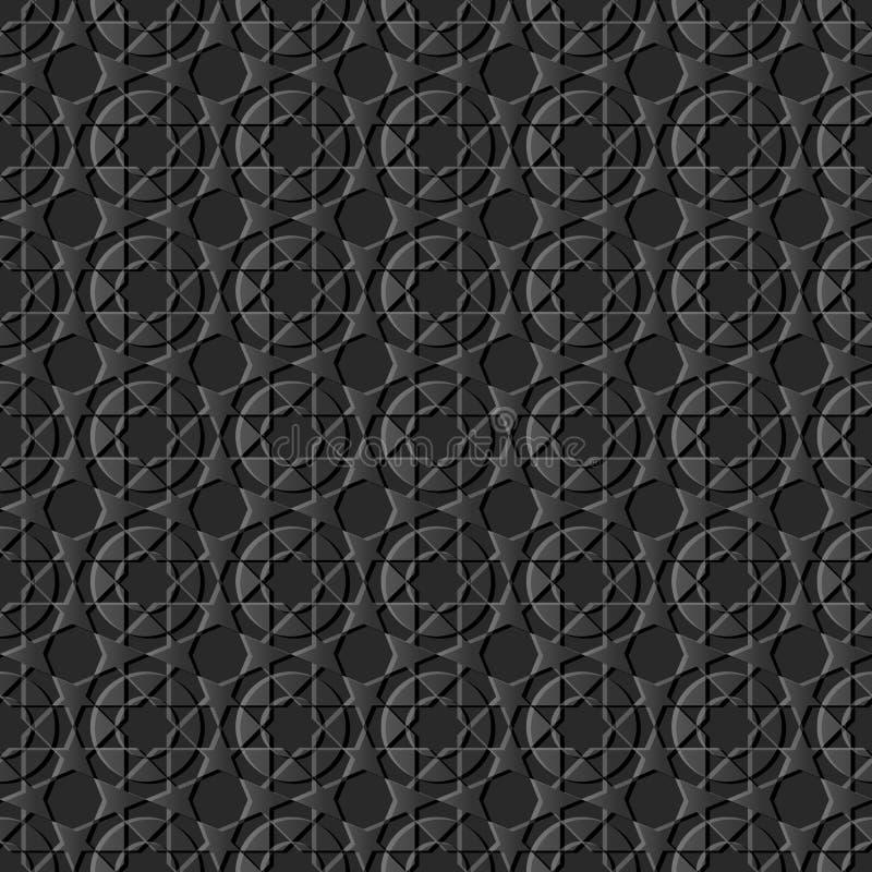 backgr inconsútil del arte 3D de la geometría del modelo islámico de papel oscuro de la cruz stock de ilustración