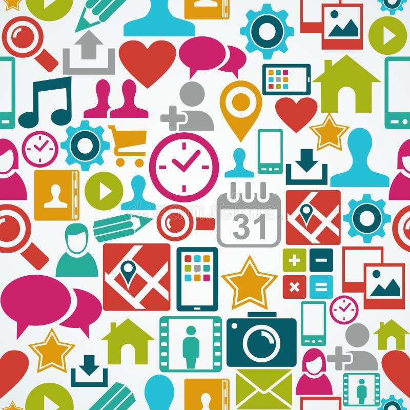 Backgr inconsútil del modelo de los medios iconos sociales de la red stock de ilustración
