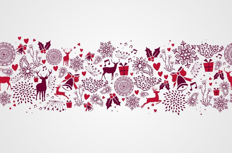 Backgr sem emenda do teste padrão dos elementos do Natal do vintage ilustração do vetor