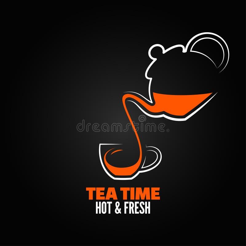 Backgraund del menú del diseño de la taza de té stock de ilustración