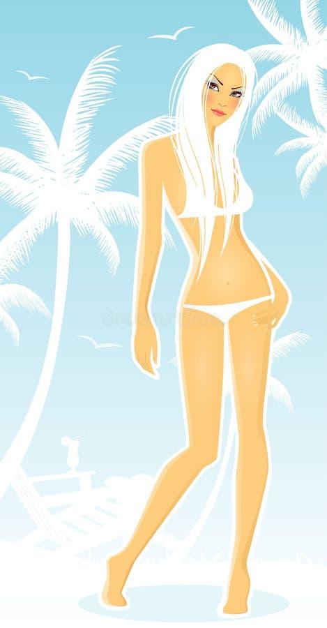 Backgraund do verão com silhueta das mulheres ilustração do vetor
